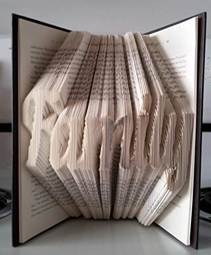 (Family book sculpture. Cursive font. Custom handmade folded book sculpture. Perfect for any occasion!)