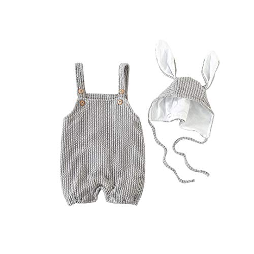 - AIKSSOO 2PCs Baby Girls Boys Easter Outfit Set Straps Bib Romper+Bunny Ears Cap Size 73(6-9M) (Gray)