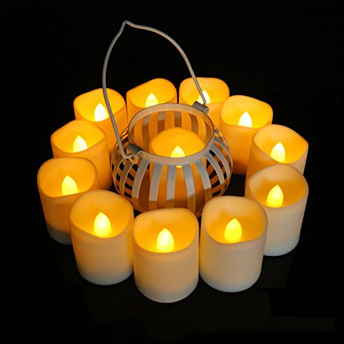 Set of 12 Electric Votive Candles with Remote