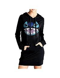 Women's Lilo And Stitch Stitch Face Sweatshirt Dress Hoodie