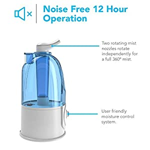Sharkk Humidifier with 3 Liter Tank Cool Mist Air Humidifier with Two 2 360 degree Rotatable Nozzles 12 Hour Continuous Quiet Operation and Automatic Shutoff Feature