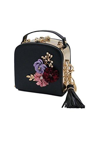 ZEN - Women 3D Flower Handbag Purse Heart Clasp Shoulder bag With Tassel (Black) -