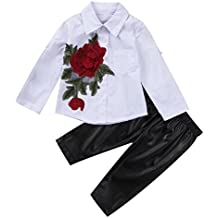 Toddler Kids Baby Girls 3D Flower Blouse Shirt Tops+PU Pants Outfit Clothes Set 1-6Y
