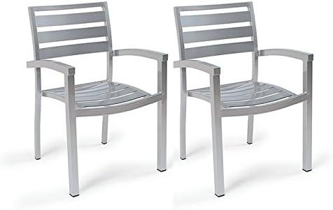 Centrosilla Sillón Lamas de Aluminio Eros para jardín, terraza o Exterior Pintado Resistente (Pack 2 Unidades) (Gris): Amazon.es: Hogar
