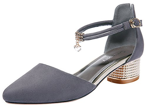 Naughty Farm Girl Costume (Passionow Women's Elegant Sexy Pointed Toe Ankle Strap Buckle Middle Block Heel Summer Sandals (5.5 B(M)US,Gray))