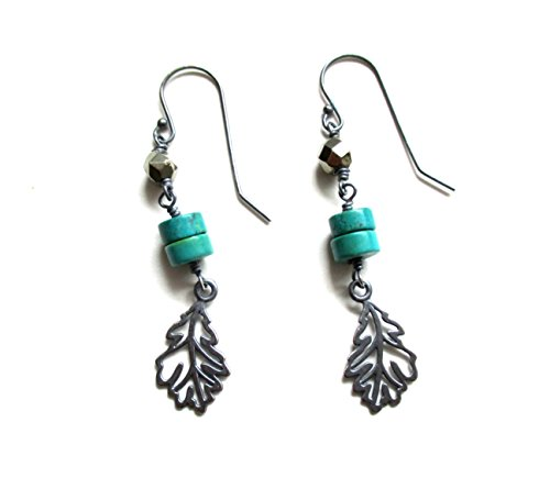 Michelle Smith Collection Sterling Silver Pyrite and Turquoise Leaf Dangle Earrings