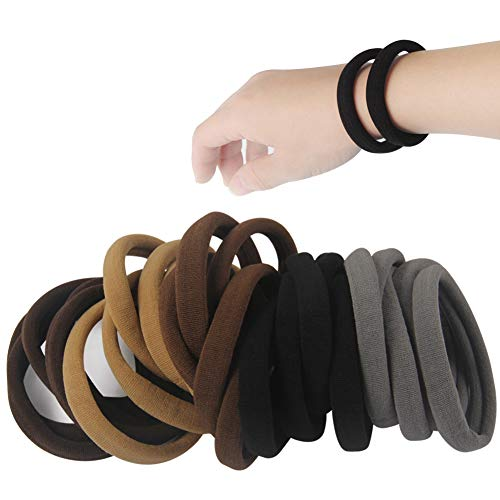 20 PCS Large Seamless soft Hair Ties Band for Thick and Curly Hair bulk]()