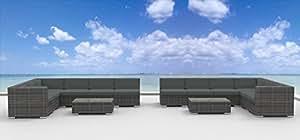 Urban Furnishing - La Jolla 14pc Modern Outdoor Backyard Wicker Rattan Patio Furniture Sofa Sectional Couch Set - Charcoal