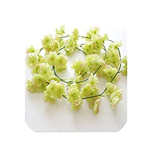loveinfinite 200cm Sakura Cherry Rattan Wedding Arch Decoration Vine Artificial Flowers Home Party Decor Silk Ivy Wall Hanging Garland Wreath,Green 91