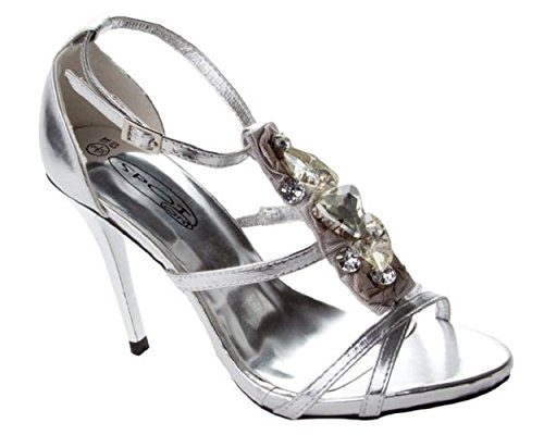 Argento metallizzato Jewelled Sandali stiletto f1768