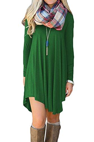 Womens High Low Long Sleeve Casual Swing Dress Tunic Shirt Dress L Green from VOGRACE
