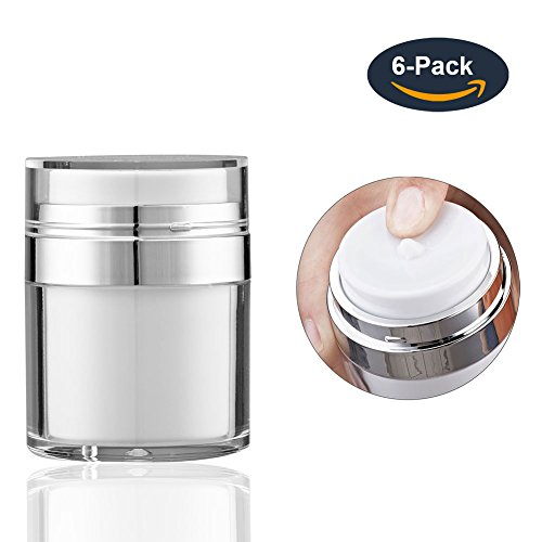 Gel 1 Oz Pump - Longway 1 Oz (30ML) Airless Acrylic Pump Jars with Lids | Empty Lotion Push Down Jar/Travel Cream Containers - for Foundation, Cosmetic & BPA Free (Pack of 6, White)