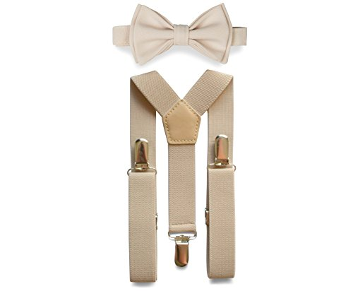 Tan Suspenders & Bow Tie Set for Baby Toddler Boy Teen Men (1. Baby (6-18 mo), Tan Suspenders, Cream Bow Tie)