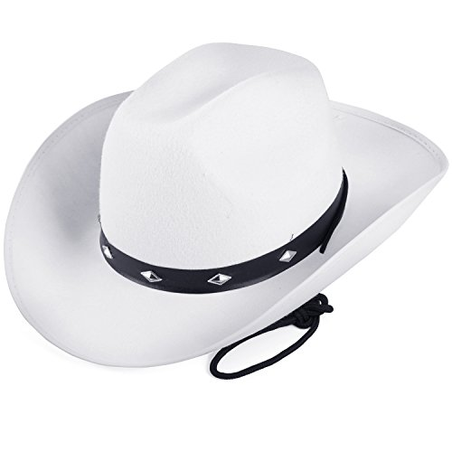 Funny Party Hats White Cowboy Hat - Studded Cowboy Hat - Cowboy Costume Accessories - Western Cowboy Hat (White Cowboy -