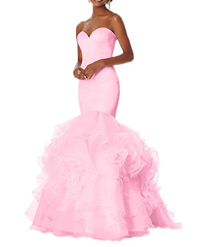 Prom Pink Women's Gowns DKBridal Flower Organza Evening Party Dresses Formal Mermaid aSxwHfqx7g