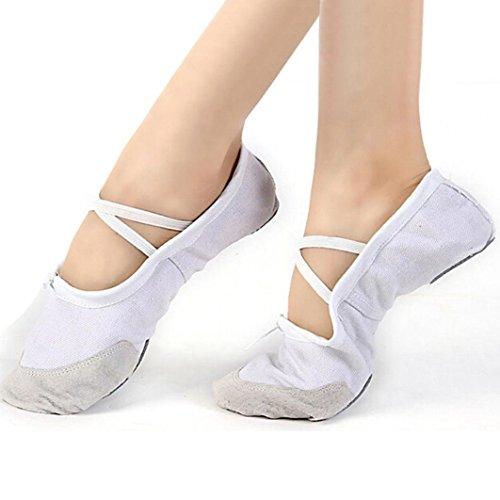 DATEWORK Child Canvas Ballet Dance Shoes Slippers Pointe Gymnastics 25-35 (US=12, (White Gold Ballet Slippers)