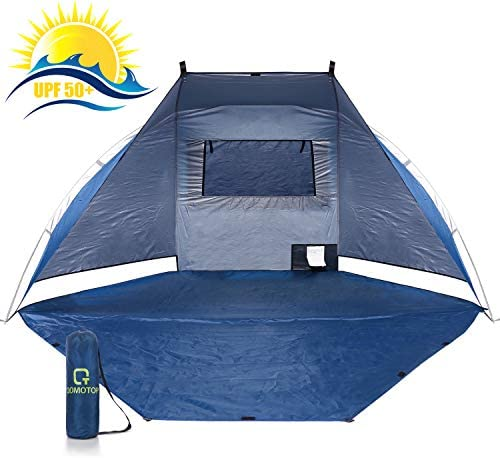 OT QOMOTOP Beach Tent, 2 Adults Outdoor Beach Shelter with UPF 50 , Portable Compact Tents for Camping, Park, Family Sun Shelter for Picnic