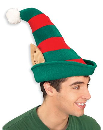 [Christmas Hat - Elf and Santa Hats By Rubies (One Size, Elf Hat with Ears)] (Elf Hats For Adults)