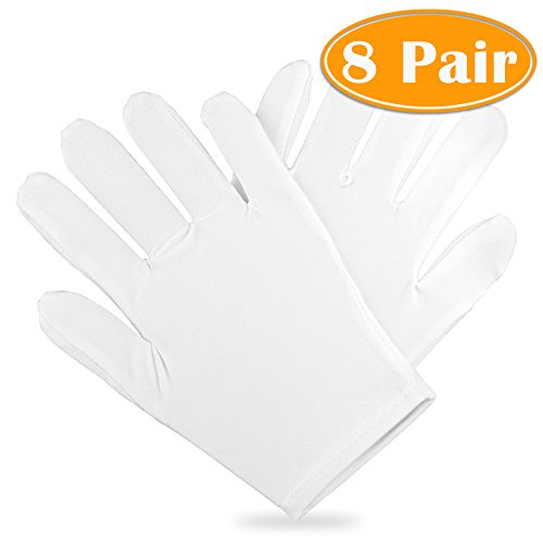 Paxcoo 100% Cotton Gloves for Dry Hand Cosmetic Moisturizing Coin Jewelry Inspection Hand Spa – Medium Size (8 pair)