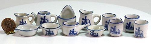 Blues Vintage Amps (Dollhouse Miniature Vintage Look Blue & White 12 Pc Ceramic Pitcher, Pot, & Bowl Set)
