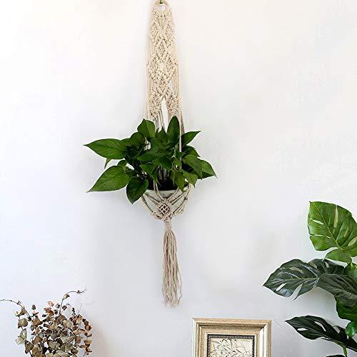 m·kvfa Beige Nordic Style Hand-woven Tapestry Flower Pot Hanging Net Bag Wall Hanging Basket Macrame Rope Plant Hanger Garden Flower Pot Holder Hanging Basket Decoration