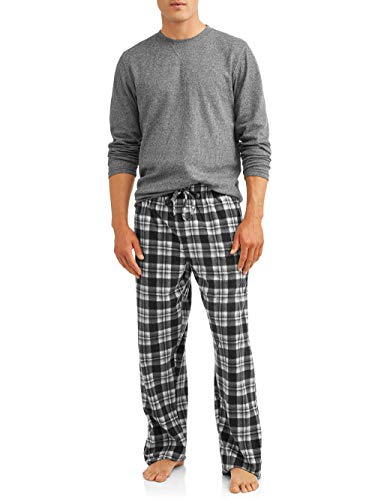 - Hanes Mens Adult Xtemp Long Sleeve Crew Shirt & Fleece Plaid Pant Pajamas PJ Set - Charcoal Grindle Heather, X-Large