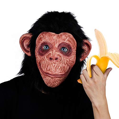 Waylike Monkey Chimp Gorilla Mask Halloween Costume Latex Orangutan Animal Mask]()