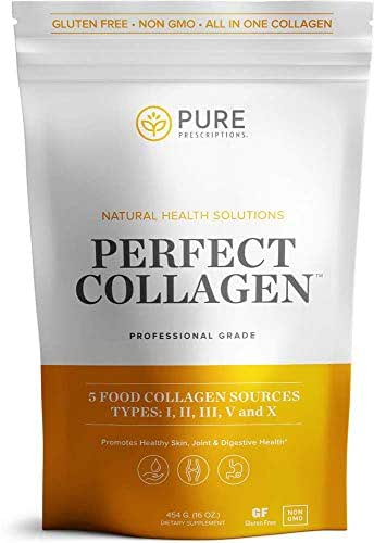 Pure Hydrolyzed Multi Collagen Peptides Protein Powder Supplement - Types I, II, III, V, X - 5 Types of Grass Fed, Wild Caught Food Sourced Collagen - 16 oz - Flavorless