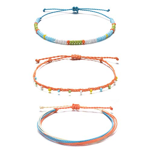 - Tarsus Hand-Knitted Thread Wax Stackable Beaded Ankle Bracelets Yarn Beachy 3 Anklets Set