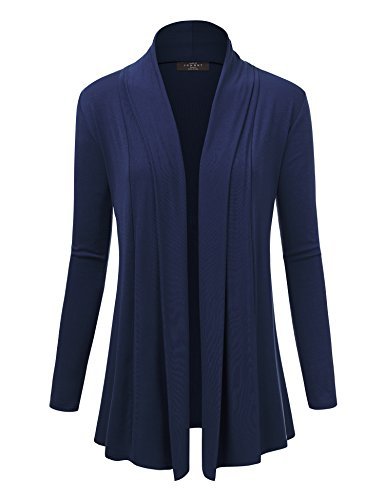 Made By Johnny WSK1301 Womens Open Draped Knit Shawl Cardigan M Navy - Rayon Rib Knit