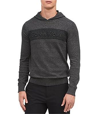 Calvin Klein Mens Raised Logo Hoodie Sweatshirt