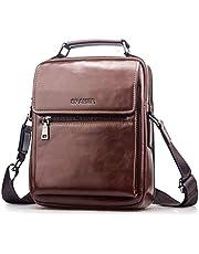 SPAHER Men Leather Shoulder Bag Handbag IPAD Business Messenger Backpack Crossbody Casual Tote Sling Travel Bag Document Bag with Top-Handle and Adjustable Strap Large Size Brown