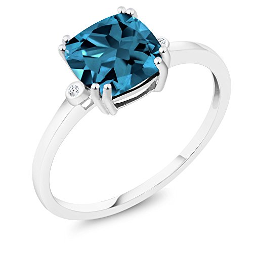 Gem Stone King 10K White Gold Cushion London Blue Topaz and Diamond Accent Engagement Right-Hand Ring 2.74 Ctw (Size 7)