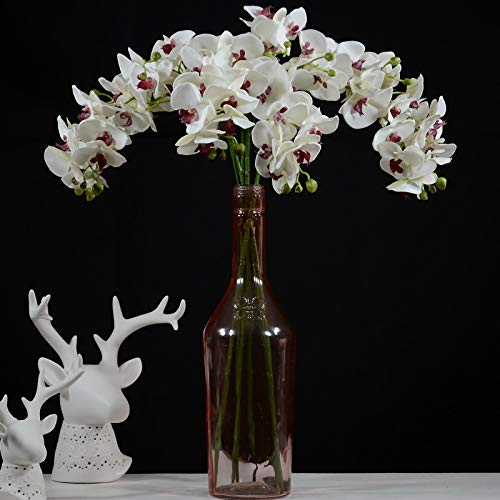 Rinlong 人工蛾蘭 35インチ ホワイト シルク 胡蝶蘭 花 スプレー 葉 つぼみ 根 DIY 盆栽 花 アレンジメント 室内装飾用 ホワイト Rinlong Artificial Orchids B07R6GYNCT 3個