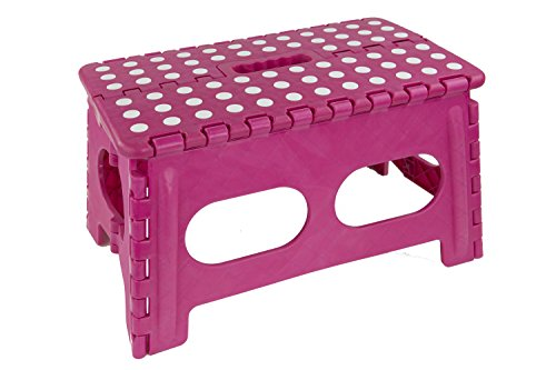 Pnk Dot - Home Basics FS49429-PNK Bright Folding Stool with Non-Slip Dots, Wide, Pink