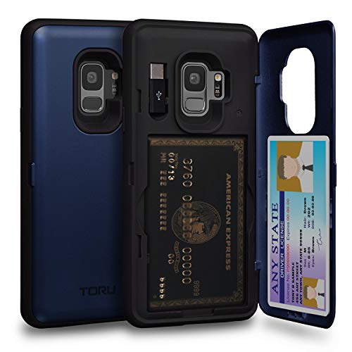 - TORU CX PRO Galaxy S9 Wallet Case Blue with Hidden Credit Card Holder ID Slot Hard Cover, Mirror & USB Adapter for Samsung Galaxy S9 - Navy Blue
