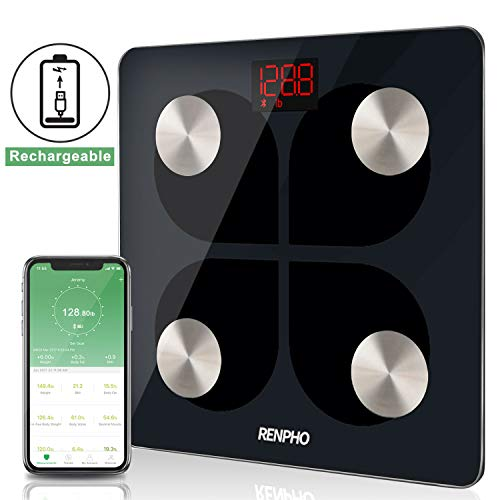 RENPHO Bluetooth Body Fat Smart Scale USB Rechargeable Digital Bathroom Weight Scale Body Fat Monitor with Smatrphone App, 396 lbs ()