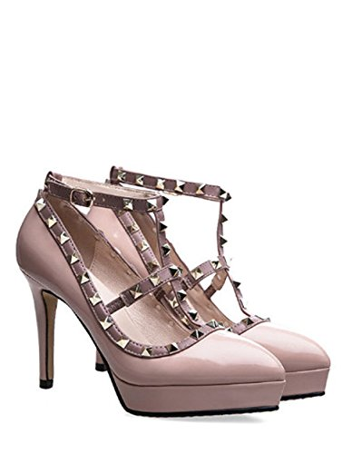 coollight Dress Party Pink Shoes Toe Thin Pumps Heeled Pointy Rivets Women's High Studs for vqrwv1