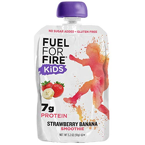 Fuel For Fire KIDS!- Strawberry Banana (12 Pack) Fruit & Protein Smoothie Squeeze Pouch | Perfect for Kids, Snacking & On the Go - Gluten-Free, Soy-Free, Kosher (3.2 ounce pouches)