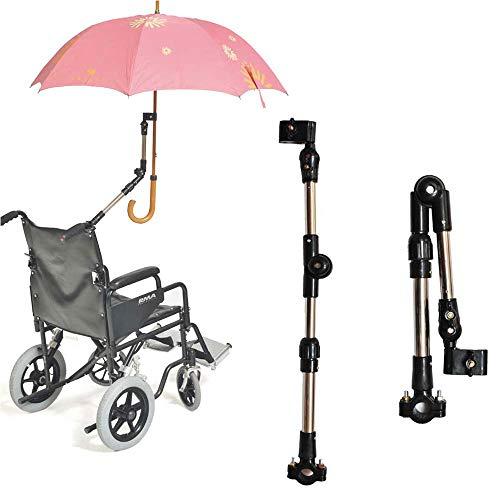 360 Angle Degrees Adjust Umbrella Mount Holder, Umbrella Connector Holder for Wheelchairs, Walker, Rollator, Camera's Tripod, Bike, Biycle, Pram, Stroller, Deck Chair ()