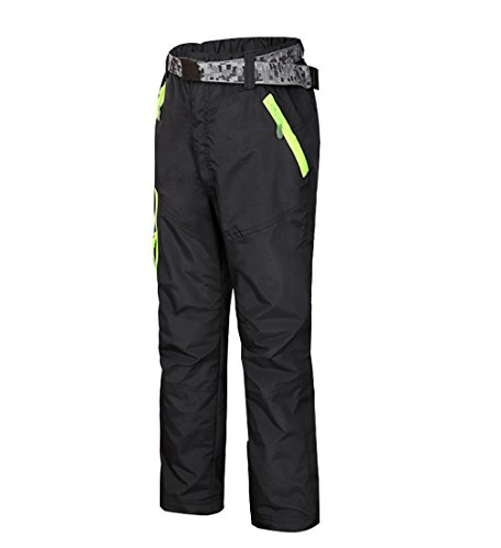 Kayla qin Kids Girls Boys Snow Pants Fleece Thickening Windproof Waterproof Outdoors Warm (8-9 Years, Black)