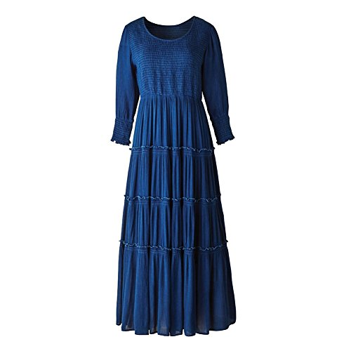Crinkle Skirt Tier (KUPERHAND / STUDIO WEST Women's Indigo Blue Crinkle Long Maxi Dress - Long Sleeves - 53