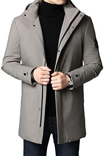 メンズウィンターフード付きジャケット、長めの厚手のダウンジャケット、フィラー:ホワイトダックダウン(グレーグリーン、ブラック)