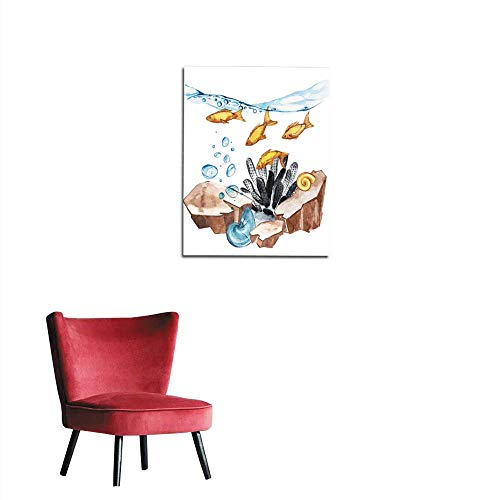 longbuyer Wall Picture Decoration Marine Life Landscape - The Ocean and The Underwater World with Different inhabitants Aquarium Concept for Posters T-Shirts Labels websites Postcards Mural 16