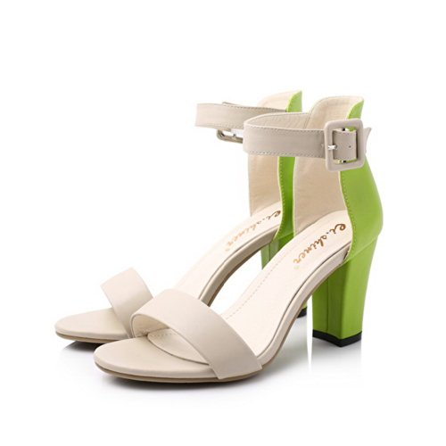 VogueZone009 Womens Open Toe Kitten Heel Chunky Heels PU Soft Material Assorted Colors Sandals with Buckle, Green, 3 UK