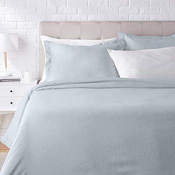 AmazonBasics Chambray Duvet Cover Bed Set - Full or Queen, Denim Wash