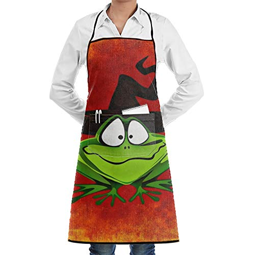 Penny McCarthy Unisex Waterproof Aprons Frog Hat Halloween Kitchen Apron with Adjustable Strap and Pocket for Cooking Gardening