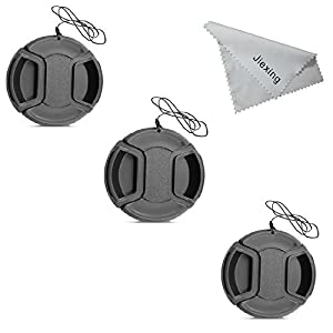 Jiexing Center Pinch Lens Cap Bundle - 3 Snap-on Lens Covers 67MM for DSLR Cameras including Nikon,Canon,Sony other Cameras with a 67MM Filter Thread Lens.