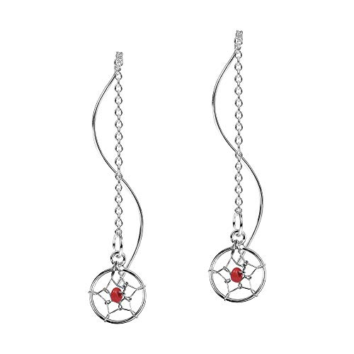 Exotic Dreamcatcher Red Round Fashion Beads Thread Slide-Through Sterling Silver - Sterling Earrings Bead Silver Dreamcatcher