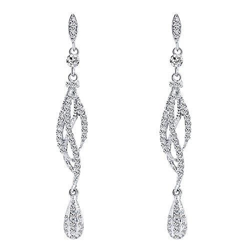 Behkiuoda Women Earrings Jewelry Diamond-Encrusted Love Heart Dangler for Women Long Eardrop